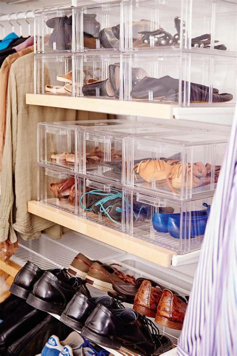 shoe storage elfa white gliding shoe shelf shoes are
