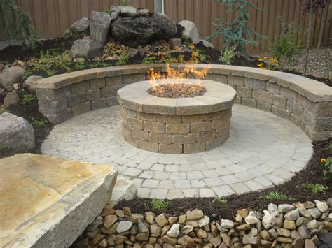 gas fire pits for a patio circle paver wall in country