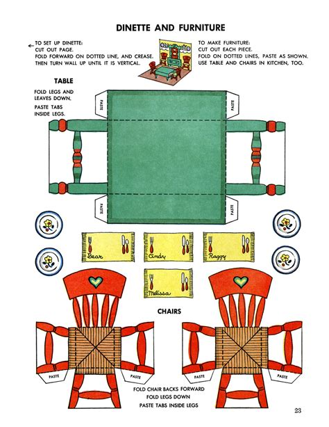 printable paper figures miniature printables dining table and chairs v