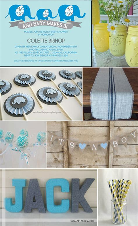 Baby Boy Elephant Themed Baby Shower by Baby Showers With Style To Spare Etsy Journal