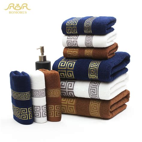 home design brand towels romorus 100 cotton embroidered towel sets 3 pcs bamboo beach bath towels for adults luxury