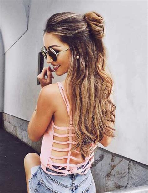 hairstyles with half bun latest trend half bun hairstyles you want to try long