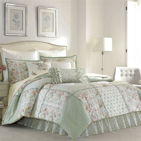 ashley comforters harper celadon floral block comforter bedding by laura ashley