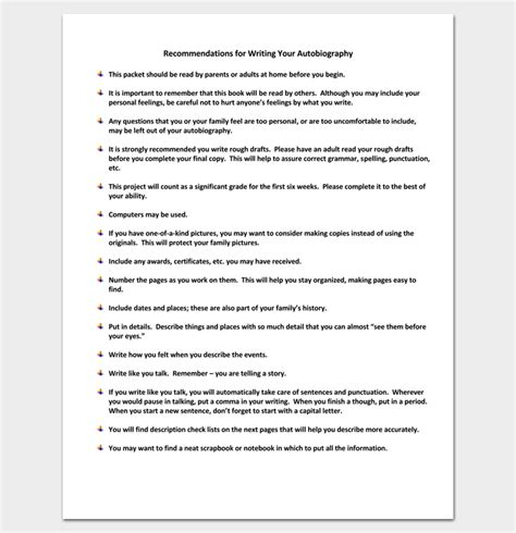 Biography And Autobiography For Middle School | autobiography outline template 23 exles and formats