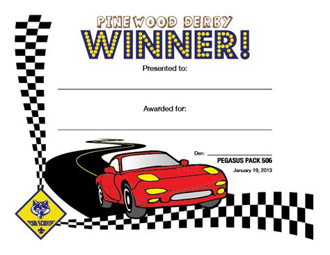 pinewood derby certificate templates cub scout pinewood derby certificates alana sabin
