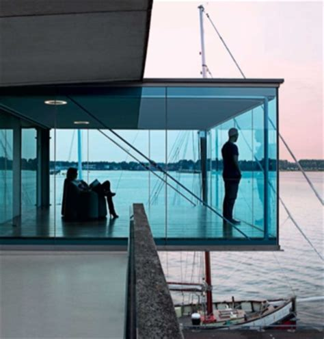 glass box architecture blue glass box modern seaside space indoor outdoor