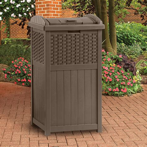Patio Garbage Can by New Suncast Ghw1732 Home Outdoor Patio Resin Wicker Trash