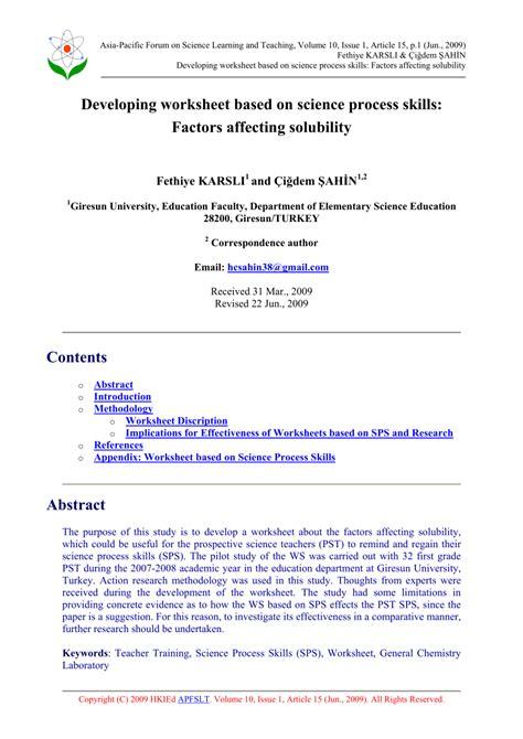 pdf developing worksheet based on science process skills