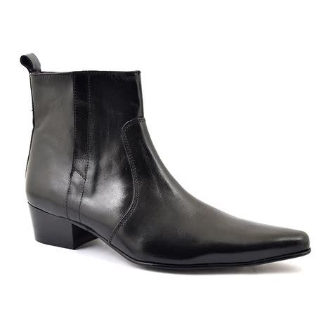 find mens black heel beatle boots gucinari cuban heels