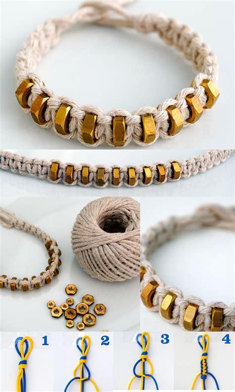 Macrame Supplies - macram 233 square knot string hexnut bracelet