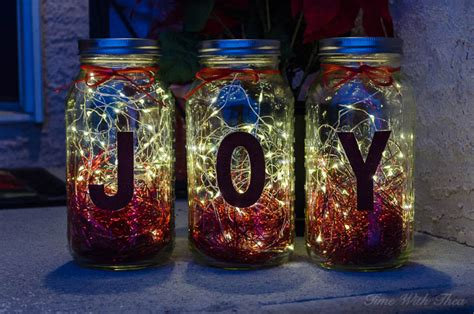make christmas mason jar twinkle light luminaries time
