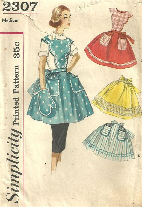 pattern apron vintage vintage 50s sewing pattern simplicity 2307 by