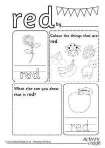 red colour worksheet