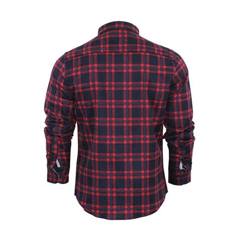 Sleeve Check Cotton Shirt mens check shirt brave soul duffey flannel brushed cotton