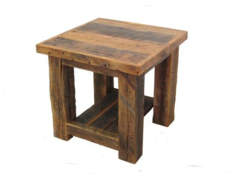 Reclaimed Barn Wood Post End Table White Cedar Barnwood