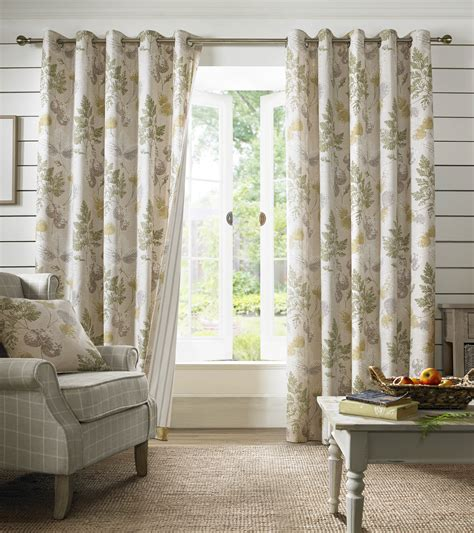 90 Drapery Panels Sycamore Curtains Green Floral Curtains 46 66 90