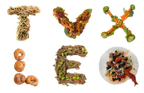up letter with food in order to show that the food font project can be made