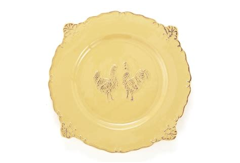 set of 4 rooster dinner plates yellow
