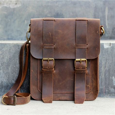 Handmade Leather Satchel - mens leather satchel messenger leather bag