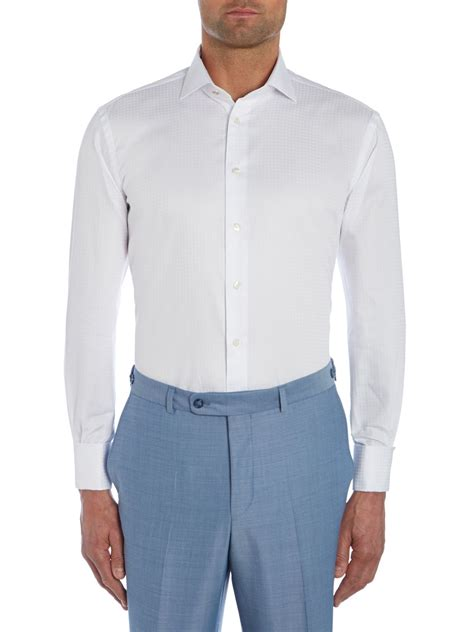 pattern shirt with white collar without prejudice pattern tailored fit cutaway collar