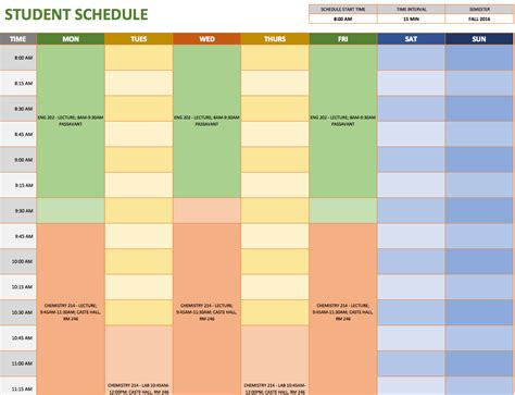 Student Schedule Template by Free Weekly Schedule Templates For Excel Smartsheet