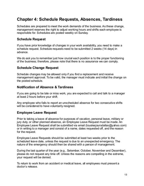 Apology Letter To For Tardiness Tous Les Jours Employee Handbook Updated