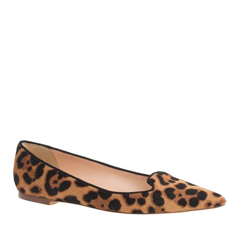 leopard flats shoes j crew collection calf hair flats in animal