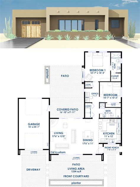 modern house blueprint contemporary adobe house plan 61custom contemporary