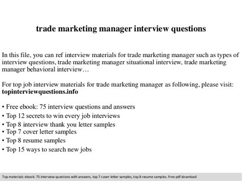 trade marketing manager questions