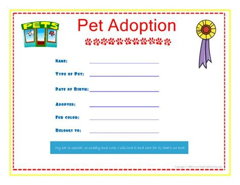 pet adoption certificate for the kids to fill out about