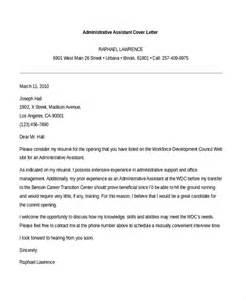 executive administrative assistant cover letter sle administrative assistant cover letter 7 free