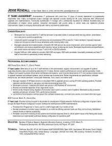Technology Leader Sle Resume by Leadership Resume Sles Resume Format 2017
