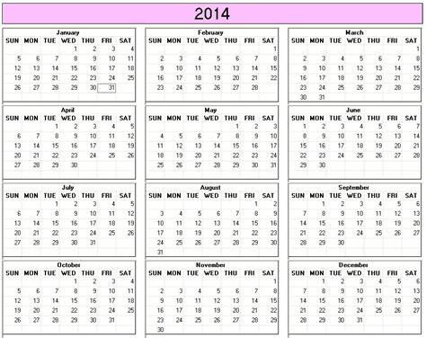 yearly 2014 printable calendar large color week starts on