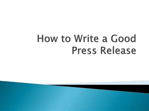 ppt how to write a good press release powerpoint