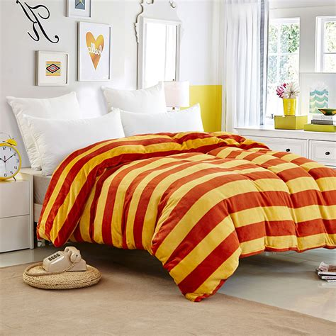 striped comforter housse de couette edredones colchas yellow and red bed