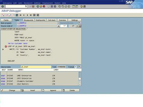sap debugging tutorial pdf debugging in sap abap in use the sap abap debugger