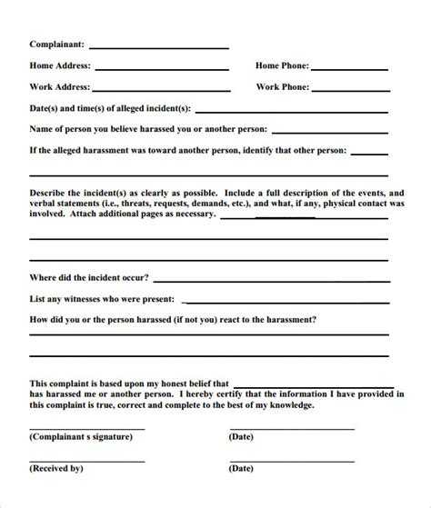 formal complaint form template sle employee complaint form template 7 free