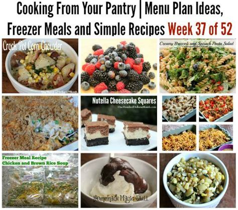 Pantry Breakfast Menu by Cooking From Your Pantry Menu Plan Ideas Freezer Meals