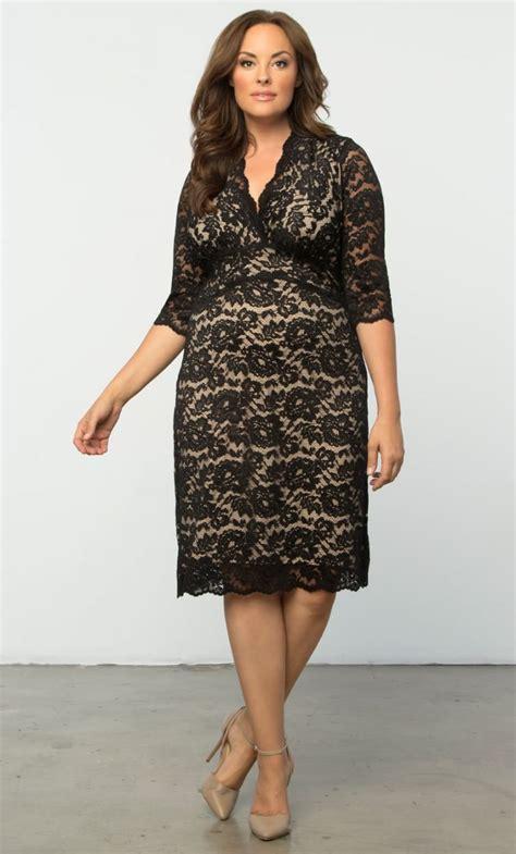 B L F Lace Dress blouson waist paillette embroidered lace dress plus size