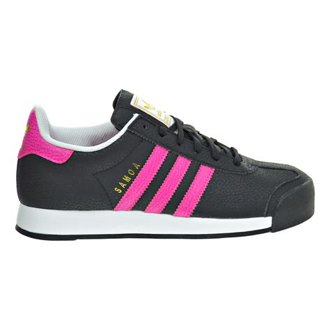 adidas samoa j big kid s casual shoes black shock pink gold metallic aq8564 ebay