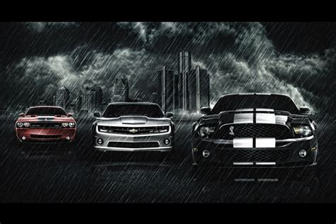 Mustang Auto Poster by Chevrolet Camaro Ford Mustang Cobra Dodge Challenger Srt