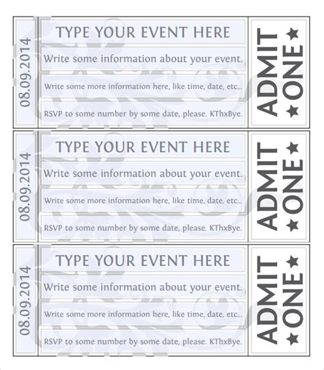 printable ticket template free printable concert ticket template
