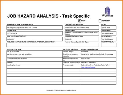 doc 728578 job safety analysis form template job safety
