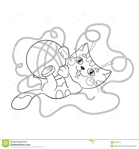 coloring book yarns coloring page outline of a fluffy kitten with