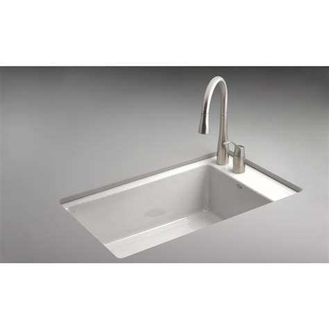Shop Kohler Indio White Single Basin Undermount Kitchen Cast Iron Kitchen Sinks