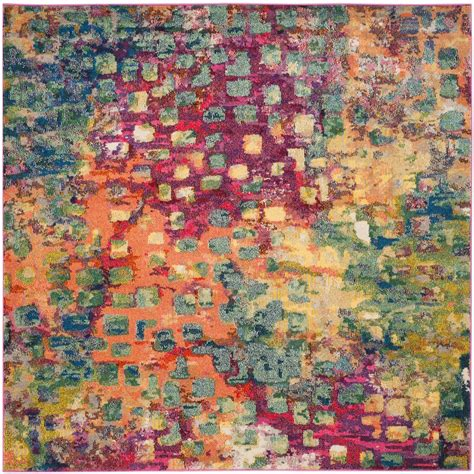 5 x 5 square rug safavieh monaco pink multi 5 ft x 5 ft square area rug mnc225d 5sq the home depot