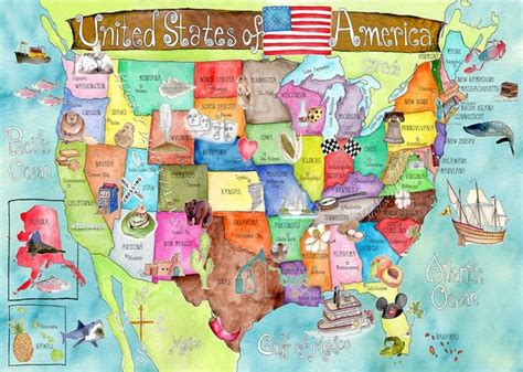 kid map of usa united states of america watercolor map poster by