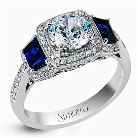 Simon G. Halo Diamond & Sapphire Engagement Ring