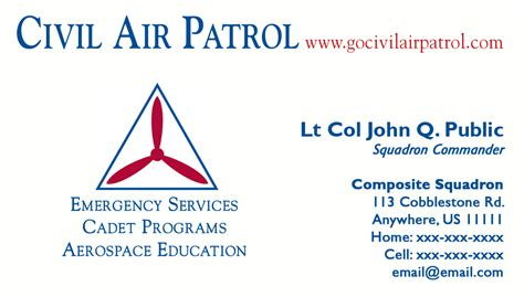 Free Air Business Card Template by Civil Air Patrol Business Cards Centreurope Info