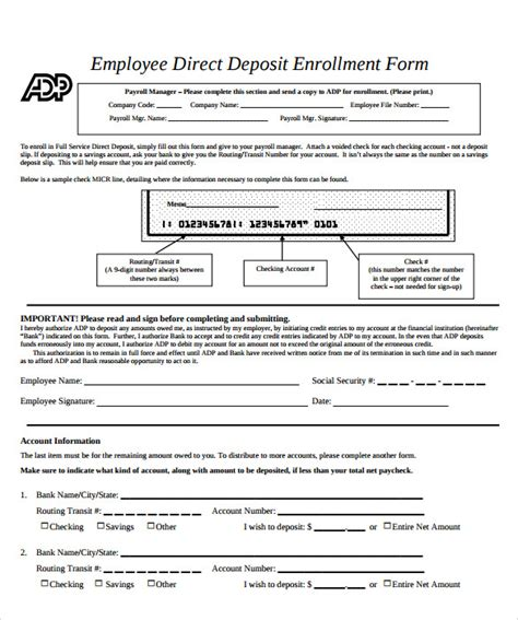 sample direct deposit authorization form 10 examples in pdf word
